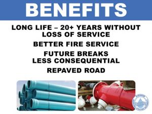Benefits: Long Life, 20+ years without loss of service, better fire service, future breaks less consequential, repaved road