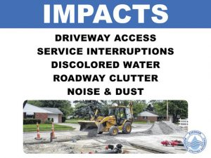 Impacts: driveway access, service interruptions, discolored water, roadway clutter, noise and dust